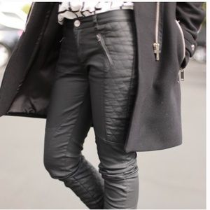 Zara quilted panel moto vegan leather pants size 2